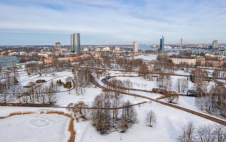 aerial view of snowy city