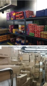 Cluttered stock rooms filled with boxes.
